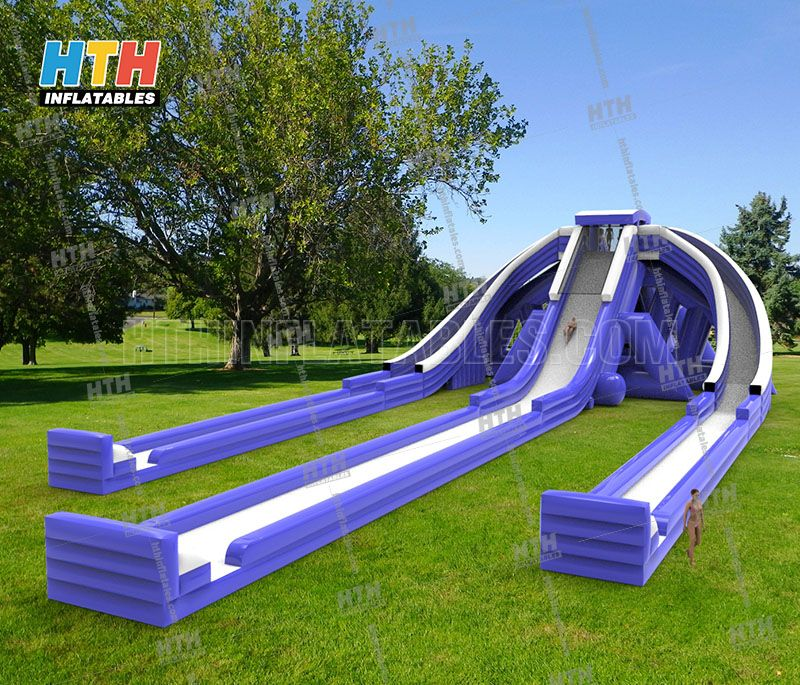 Giant Inflatable water slides with  triple lanes for thrill water games